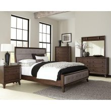 Bingham Retro-modern Brown Upholstered Queen Five-piece Bedroom Set