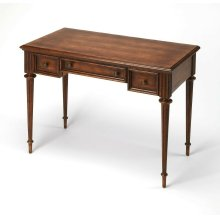 Perfect for working from home, penning thank you notes, or going over household finances, this beautiful writing desk is a lovely addition to your study, living room, or master suite. Featuring a warm Dark Toffee finish in a Cherry veneer, antique brass f