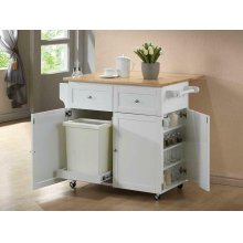 Transitional Natural Brown and White Kitchen Cart