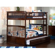 Columbia Bunk Bed Full over Full with Raised Panel Trundle Bed in Walnut