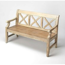 """This alluring transitional bench is a welcome addition in any space. Crafted from poplar hardwoods and wood products, it features bold """"X """" back supports and oak veneers in a fashionable Driftwood finish."""