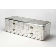This is the piece that will have everyone talking. Made from Mango wood solids and aluminum in a avation style, this entertainment console looks like a piece from early avaiation history. It's rounded corners have a mid-century touch, and an aluminum fini