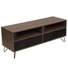 Rustic Wood Grain Finish TV Stand with Metal Drawers and Black Metal Legs