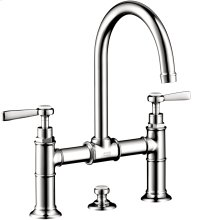 Chrome 2-handle basin mixer 220 with lever handles and pop-up waste set