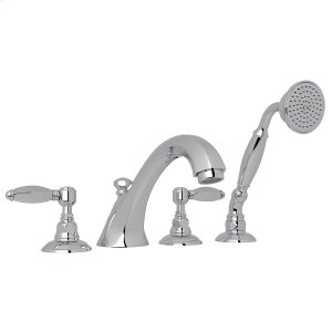 Polished Chrome Hex 4-Hole Deck Mount Spout Tub Filler With Handshower with Hex Series Only Metal Lever Product Image
