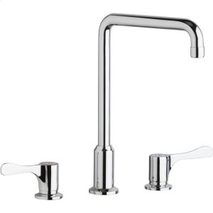 """Elkay 8"""" Centerset Concealed Deck Mount Faucet with Arc Tube Spout and 4"""" Lever Handles Chrome Product Image"""