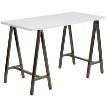 White Computer Desk with Brown Metal Frame