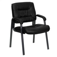 Black Leather Executive Side Reception Chair with Titanium Frame Finish