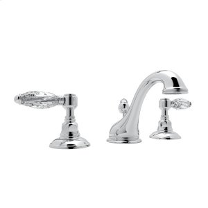 Polished Chrome Viaggio C-Spout Widespread Lavatory Faucet with Crystal Lever Product Image
