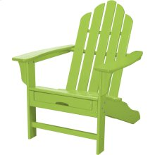 All-Weather Contoured Adirondack Chair with Hideaway Ottoman- Lime