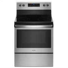 5.3 cu. ft. Freestanding Electric Range with 5 Elements Fingerprint Resistant Stainless Steel (This is a Stock Photo, actual unit (s) appearance may contain cosmetic blemishes. Please call store if you would like actual pictures). This unit carries our 6 month warranty, MANUFACTURER WARRANTY and REBATE NOT VALID with this item. ISI 33770