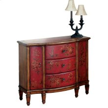 Decorative hand painted design on select hardwoods and wood products. Three felt line drawers with dovetail construction on a center wood glide. Two side doors. Antique brass finished hardware.