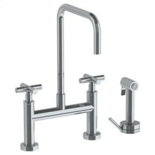 Deck Mounted Bridge Square Top Kitchen Faucet With Independent Side Spray