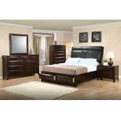 Phoenix Cappuccino Upholstered California King Platform Bed