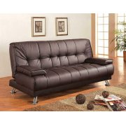 Casual Brown and Chrome Sofa Bed Product Image