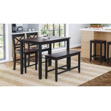 Asbury Park 4-pack - Counter Table With 2 Stools and Bench - Black /autumn