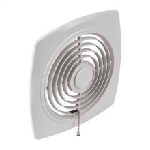 8-In. 250 CFM Chain-Operated Wall Fan, White Square Plastic Grille
