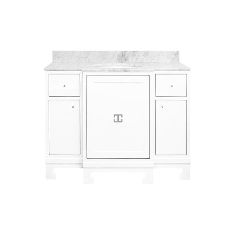 """Three Door- Two Drawer White Lacquer Bath Vanity With Nickel Hardware and White Carrara Marble Top Features: - White Porcelain Sink Included - Optional White Carrara Marble Backsplash Included - for Use With 8"""" Widespread Faucet (not Included)"""