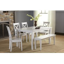 Simplicity Rectangle Dining Table With 4 X Back Chairs- Dove