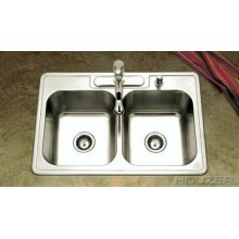 Topmount 50/50 Double Bowl 3322-8bs