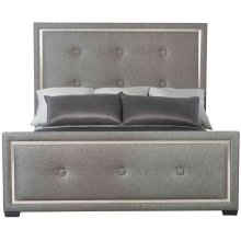 California King-Sized Decorage Upholstered Panel California King Bed in Silver Mist (380)