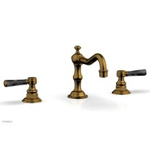HENRI Widespread Faucet - Black Marble Lever Handles 161-03 - French Brass