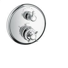 Chrome Thermostat for concealed installation with cross handle and shut-off valve
