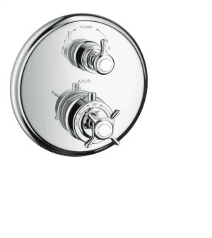 Chrome Thermostat for concealed installation with cross handle and shut-off valve Product Image