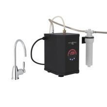 Polished Chrome Perrin & Rowe Holborn C-Spout Hot Water Faucet, Tank And Filter Kit