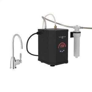 Polished Chrome Perrin & Rowe Holborn C-Spout Hot Water Faucet, Tank And Filter Kit with Contemporary Metal Lever Product Image