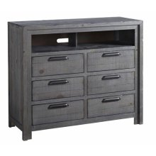 Media Chest - Distressed Dark Gray Finish