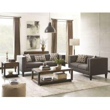 Sawyer Transitional Charcoal Three-piece Living Room Set