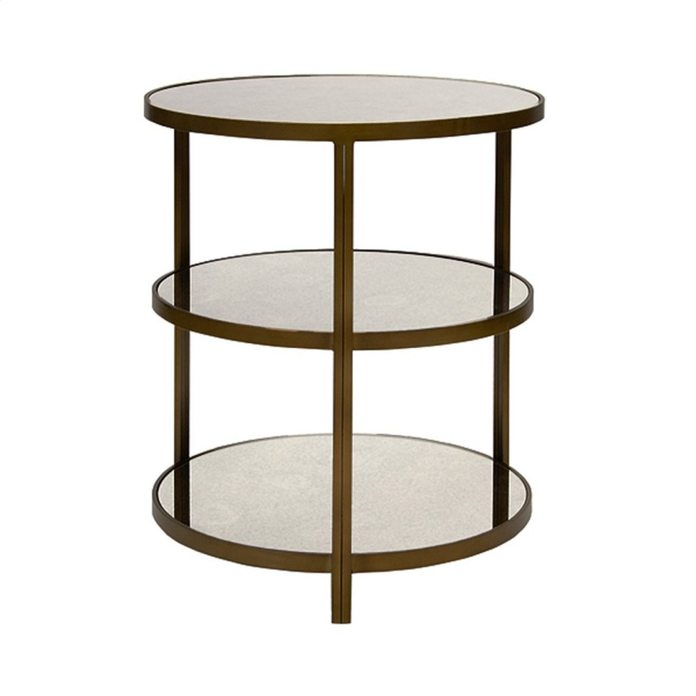 Painted Bronzed 3 Tier Side Table With Antique Mirror Tops