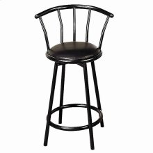 "24"" Metal Swivel Black Bar Stool"