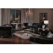 Reventlow Formal Black Three-piece Living Room Set Product Image