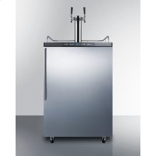Freestanding Dual Tap Residential Beer Dispenser, Auto Defrost W/digital Thermostat, Ss Wrapped Door, Thin Handle, and Black Cabinet