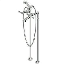 Free standing bath-shower mixer with shower set and pillars.