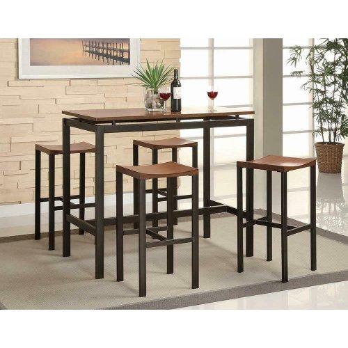 Atlas Birch Veneer and Black Five-piece Dining Set
