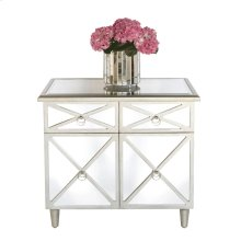 Mirrored Crosshatch 2-drawer Chest With One Interior Shelf- Painted Silver Edge and Nickel Pulls.