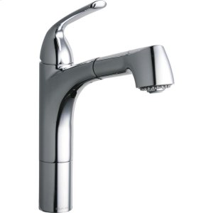 Elkay Gourmet Single Hole Kitchen Faucet Pull-out Spray and Lever Handle with Hi and Mid-rise Base Options Chrome Product Image