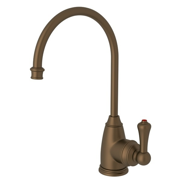 English Bronze Perrin & Rowe Georgian Era C-Spout Hot Water Faucet with Traditional Metal Lever
