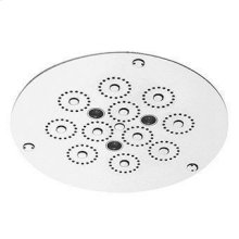 ø 280 mm ceiling mounted stainless steel multifunction shower system. Rain jet and chromoterapy controlled by touch display. Minimum flowrate requested : 12 lt/min.