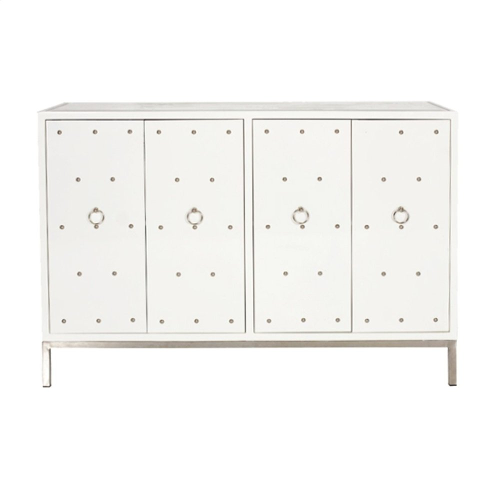 White Lacquer Nickel Studded Buffet With Inset Beveled Mirror Top. One Fixed Interior Shelf.