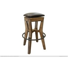 "30"" Height Wooden Stool w/ faux leather"