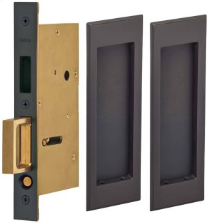 Pair Dummy Pocket Door Lock with Traditional Rectangular Trim featuring Mortise Edge Pull in (US10B Black, Oil-Rubbed, Lacquered) Product Image