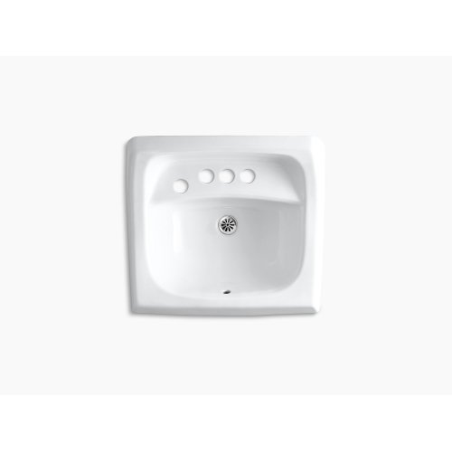 "Almond 21-1/4"" X 18-1/8"" Wall-mount/concealed Arm Carrier Bathroom Sink With 4"" Centerset Faucet Holes and Left-hand Soap Dispenser Hole"