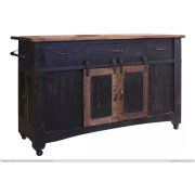 3 Drawer Kitchen Island w/2 sliding doors, 2 Mesh doors on each side - functional casters - Black & Brown Finish Product Image