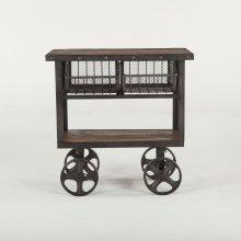 """Industrial Teak Cart Table 36"""""""