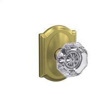Custom Alexandria Glass Knob with Camelot Trim Hall-Closet and Bed-Bath Lock - Satin Brass