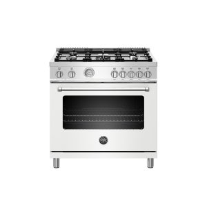 36 inch Dual Fuel Range, 5 Burner, Electric Oven Matt White Product Image